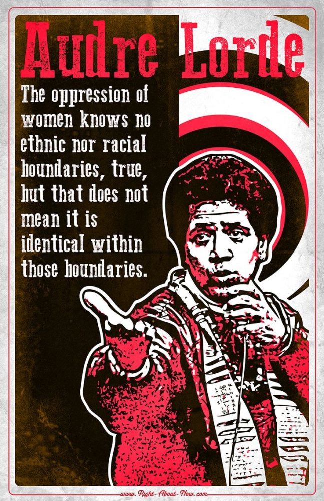 Audre Lorde in red, black, and white cutout art, right arm outstretched, palm up, mic in left.