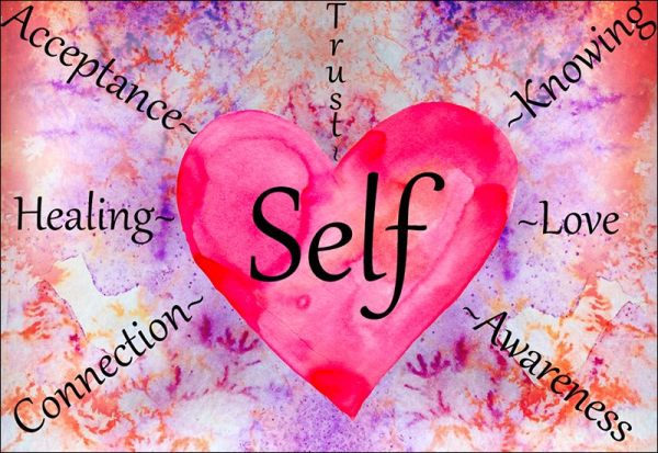 "Watercolor, pink heart w/ ""Self"" in middle, purple/orange background, words radiating from heart."