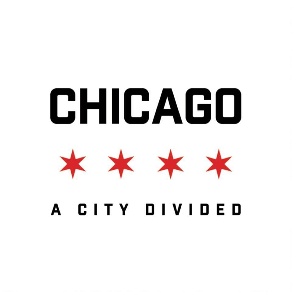 "White background, 4 red, six-pointed stars in center, w/ ""CHICAGO"" above and ""A CITY DIVIDE"" below."