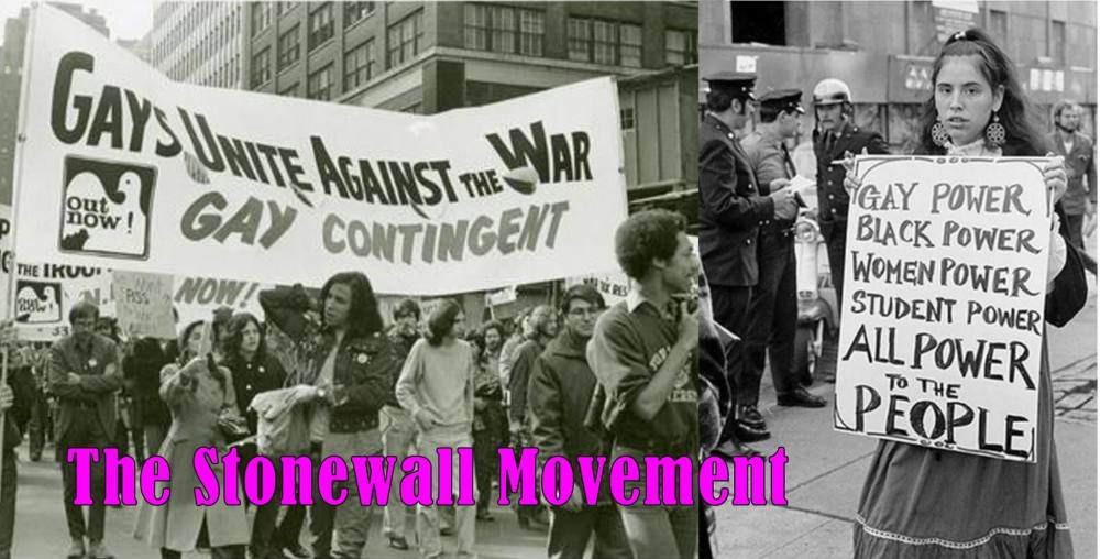Black and white photo of protest during the Stonewall Movement.